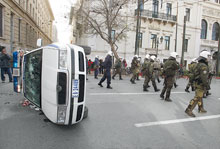 Greek police car during riots